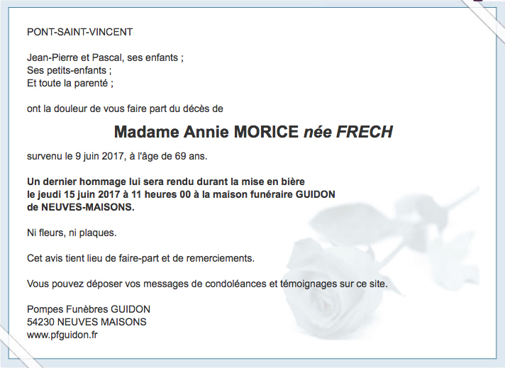 Amicale Des Anciens De L Inrs Lorraine  Dcs DAnnie Morice